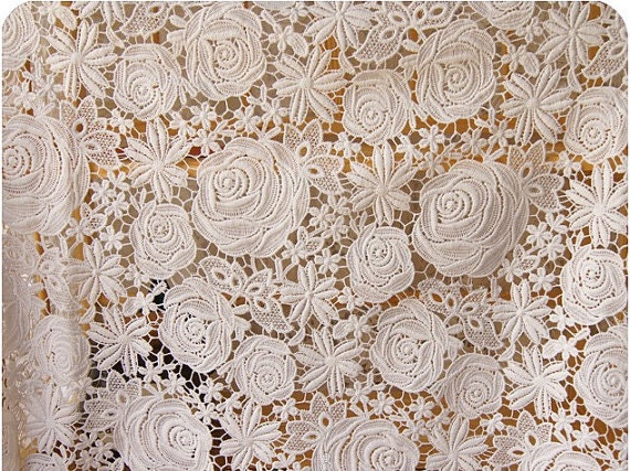 Ivory Wedding Lace Fabric Crochet Venice Lace Fabric Rose