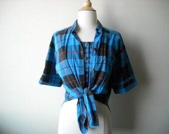 Vintage Blue Plaid Unique Shirt