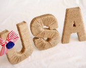 "Patriotic 8"" jute USA.  Americana Decor.  July 4th Decoration. Memorial Day.  Summer. Twine Letters. Jute Letter. Patriotic. Military Decor"
