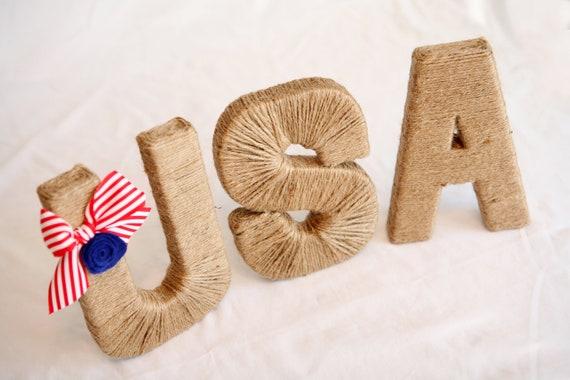 "Patriotic 8"" jute USA.  Americana Decor.  July 4th Decoration. Memorial Day.  Summer. Twine Letters. Jute Letter. Patriotic. Military Decor"