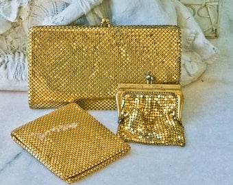 Vintage Duramesh Gold Wallet Set