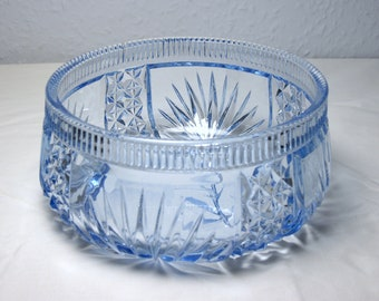 Vintage Cut Glass Fruit Bowl Blue Glass