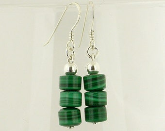 Malachite Sterling Silver Earrings 12