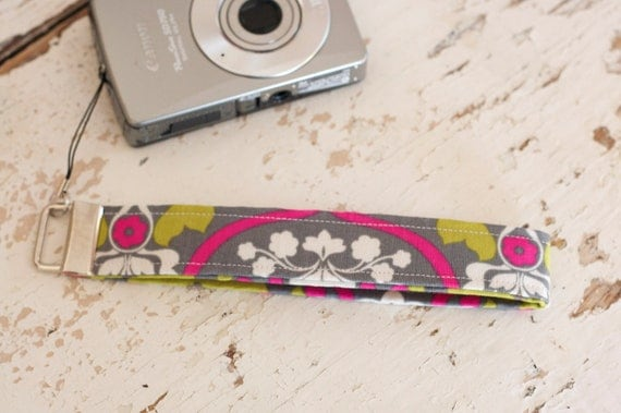 Camera Strap Wristlet Camera Wristlet Camera Strap, Pink, Grey and Green