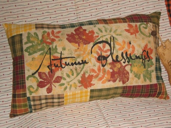 """Primitive Quilt Pieced HomeSpun Patchwork Hand Painted Stenciled Lg Pillow """" AUTUMN BLESSINGS """" Fall Decoration Halloween"""