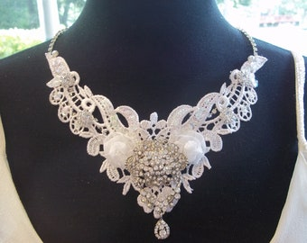 Bridal Statement Necklace - Wedding Necklace, Lace and Rhinestone, Natalie in White - A Bijoux Bridal Chicago Signature Design