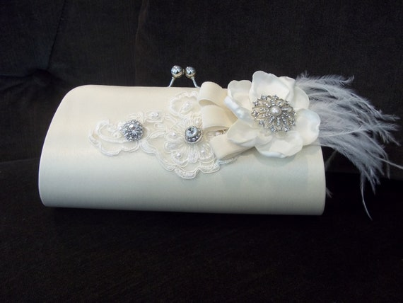 Bridal Clutch, Ivory Wedding Clutch - Hollywood Glamour - 1920s Style, Feathered - Winter Wedding - A Bijoux Bridal Chicago Signature Design