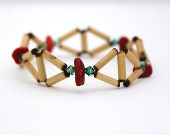 coral beaded bracelet stretch bracelet wooden beaded bracelet turquoise crystal bracelet boho bamboo
