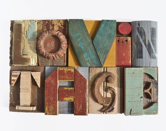 custom sign letters vintage wood original art typography  by Elizabeth Rosen