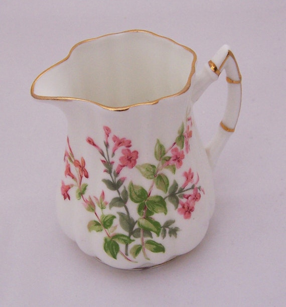 Vintage C & E VICTORIA England  BONE CHINA Pink Flowers Creamer, 1912-1936s