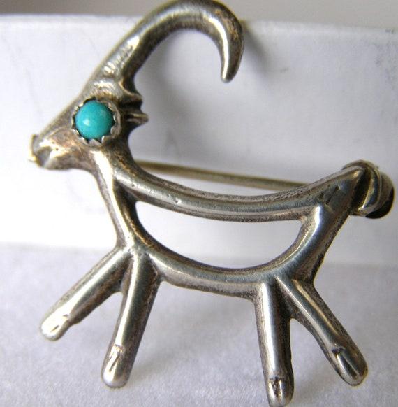 vintage dead pawn sterling brooch turquoise eye deer mid century western Navaho folk art