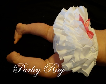 Beautiful Parley Ray White Ruffled Diaper Cover/ Baby Bloomers/ Photo Prop