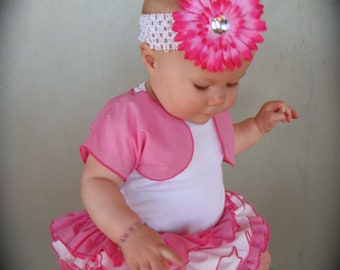 Beautiful Parley Ray Baby Girls Ruffle Skirt and Shrug Pink all around Ruffled Baby Bloomers/ Diaper Cover / Photo Props