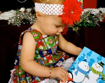 Parley Ray Christmas Gift Pinafore with Ruffled Baby Bloomers and Bracelet Diaper Cover