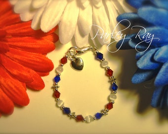 Parley Ray Baby Girls Patriotic Red White and Blue 4th of July Independence Day Bracelet with Heart Charm