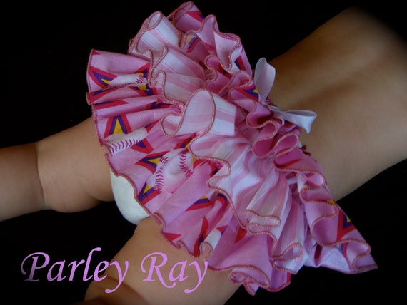 Beautiful Parley Ray All Star Pink Baseball Ruffled Baby Bloomers / Diaper Cover / Photo Props