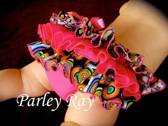 Beautiful Parley Ray Spring/ Summer Flowers N Jawbreakers Ruffled Baby Bloomers/ Diaper Cover /Photo Prop