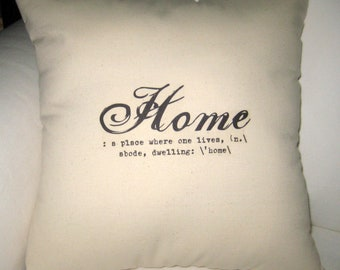 Home Definition Large Pillow, Definition Typography Cushion, Modern, Shabby Chic, Ivory Affordable Home Decor, Words