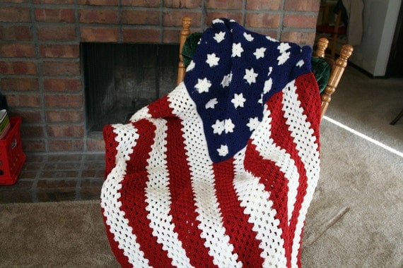 Crochet Wavy American Flag Afghan Pattern Manet For