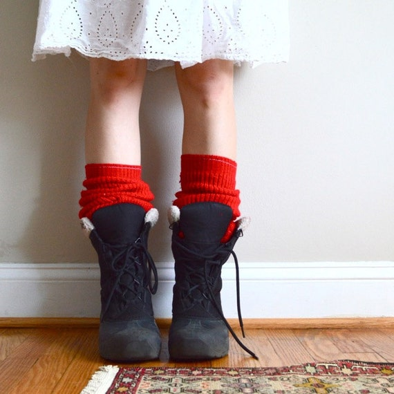 Lumberjack leg warmers. Red knit. Upcycled. Perfect for boots & flats.