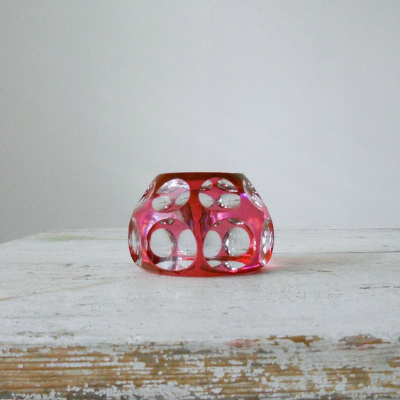 Vintage Glass Paperweight - Cranberry, Cut to Clear, St. Louis