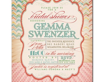 Bridal Shower Invitation Vintage Rustic Birthday Invitation Rainbow Chevron Typography Poster Printable Digital or Printed - Gemma Style