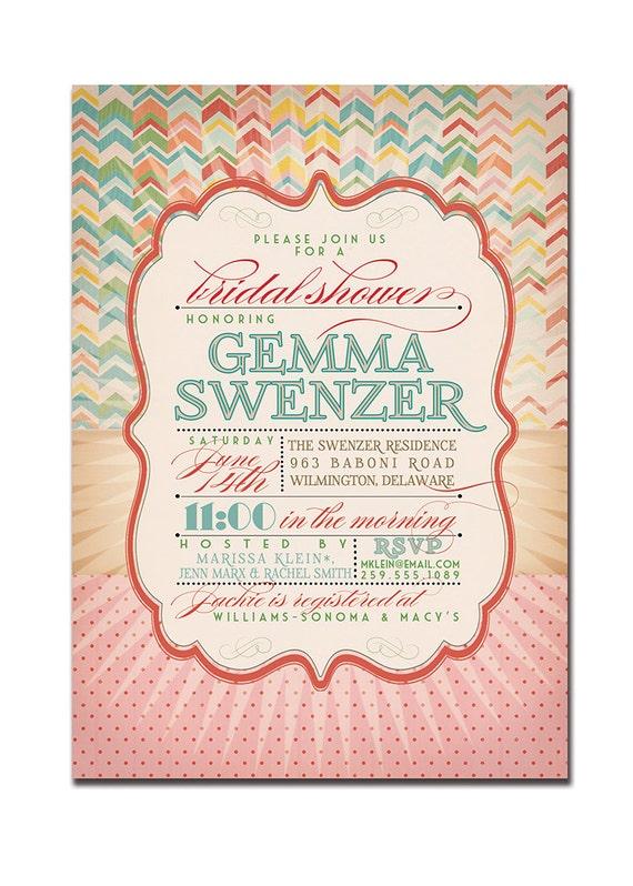 Bridal Shower Invitation Vintage Rustic Birthday Invitation Rainbow Chevron Typography Poster Printable Digital or Printed - Gemma Style