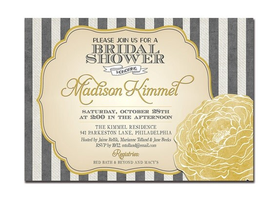 Bridal Shower Invitation Yellow & Gray Flower Baby Shower Stripes Wedding Invitation FREE PRIORITY SHIPPING or DiY Printable - Madison