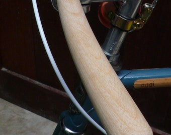 bicycle handlebar (round tip at both ends) - solid ASH wood, vintage style
