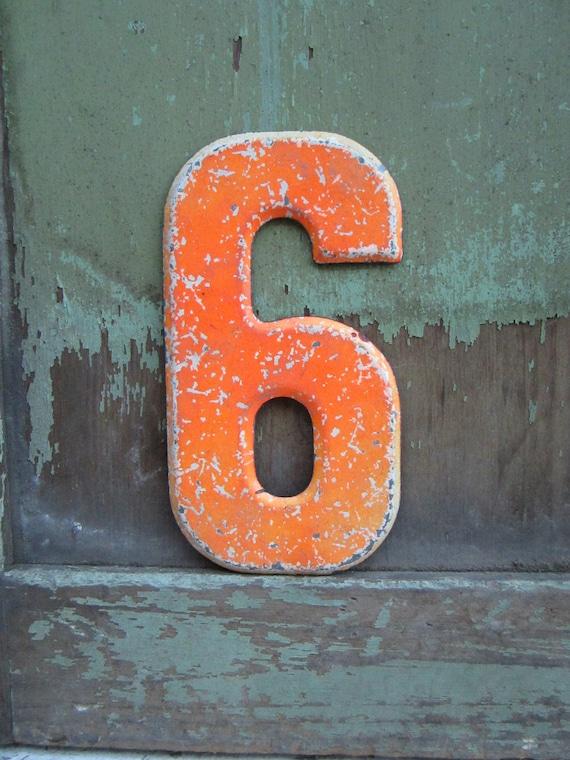 Vintage Metal Number 6 or 9 Orange Chippy Painted Sign Antique Marquee  Metal