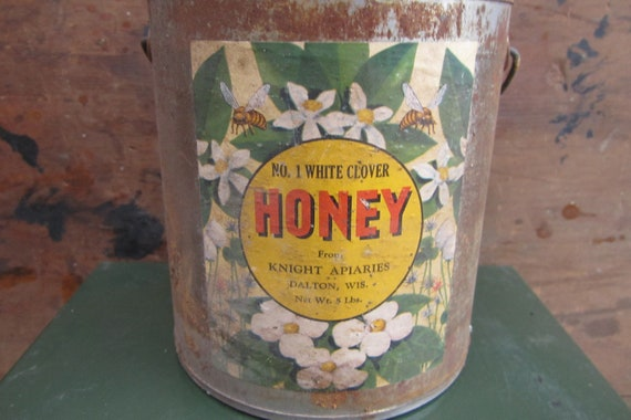 Vintage Honey Can Primitive Rustic Honey Container Old Metal Bucket Baled Handle Can