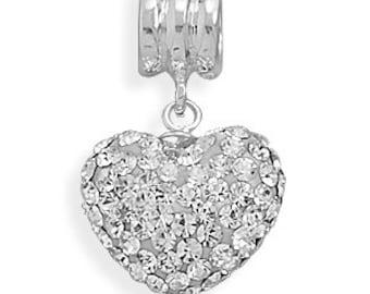 Clear Swarovski Crystal European Heart Charm or Pendant Bead - 925 Sterling Silver