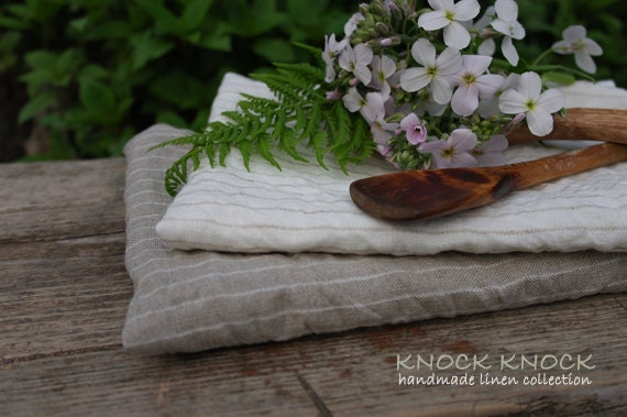 Tea Towels Set of 2 From Eco Friendly Linen Rustic Country Feeling Wrinkled Texture