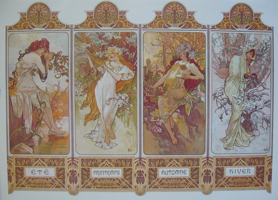 FOUR SEASONS POSTER by Alphonse MuchaVintage by ...