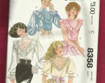 Vintage 1982 McCalls 8358 Western Ruffled Blouses Size 8  UNCUT