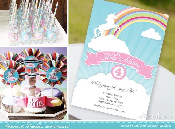 RAINBOW Party Printables - Unicorn Birthday Invitation, Cupcake Toppers, Favor Tags, Candy Wrappers, Bunting and more