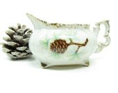 Pine Cone Creamer Vintage Demitasse Miniature Cream Pitcher Brown Pinecones