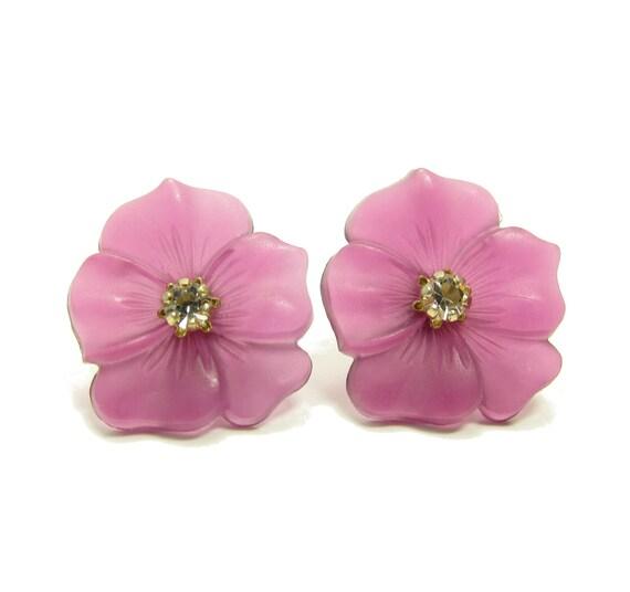 Purple Avon Earrings Pansies Flower Interchangeable Post Earrings