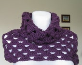 crocheted womens neckwarmer ANY COLOR purple plum shoulder warmer cowl made to order - delectare