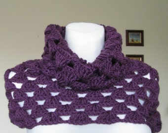 crocheted womens neckwarmer YOU CHOOSE COLOR purple plum shoulder warmer cowl made to order