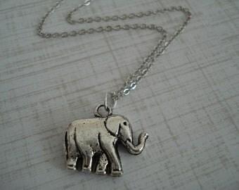 Antique silver Elephant Necklace
