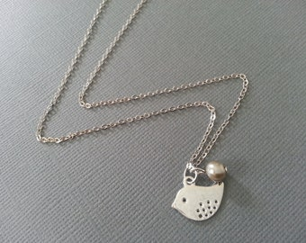 Silver Baby Bird Necklace with Champagne  Pearl