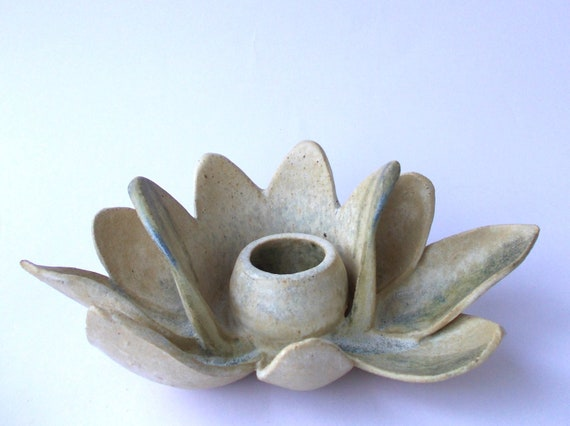 Lotus Flower Ceramic Candle Holder Like Water Lilies Or Vase