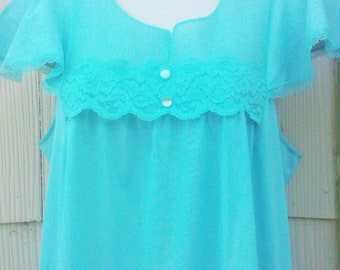 Vintage 1960s Aqua Blue Babydoll Nightgown Small Medium Lingerie