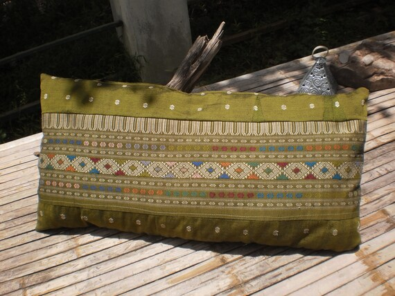 Vintage Upcycled HandMade Cushion Cover Made From Hand Made Laos Skirts