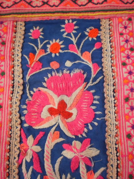 Hmong Embroided Folk Art Tribal Textile Panel