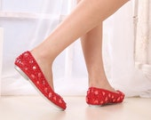 Comfortable flats red crystal shoes for wedding or daily use
