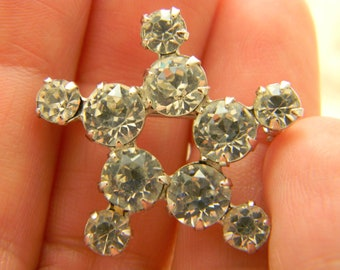Vintage rhinestone snowflake star brooch prong set