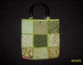 Green Charm Pack Quilted Tote with Rick-Rack and Snap    Closure