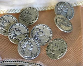 Set of Eight Antique Ardor Of Paris Silver Buttons From Paris